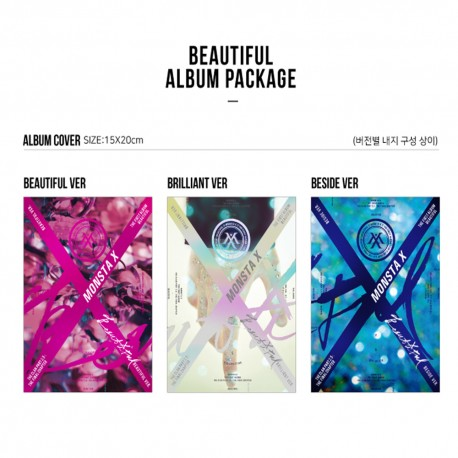 monsta x beautiful 1st album random 30p post photo lyrics book card etc